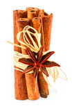 Cinnamon sticks and star anise isolated on white Royalty Free Stock Photos