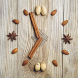 Cinnamon sticks, star anise and nuts Royalty Free Stock Photo