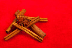 Cinnamon sticks and star anise on red Stock Photography