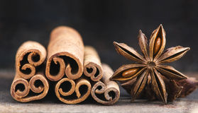 Cinnamon sticks and star of anise Stock Photo