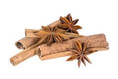 Cinnamon sticks and star anise spice fruits Stock Photos