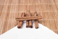 Cinnamon sticks on the table Stock Photo