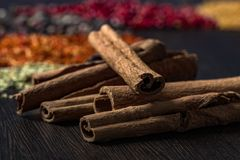 Cinnamon sticks on table stock photo