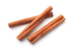 Cinnamon sticks. Top view of cinnamon sticks isolated on white Royalty Free Stock Image