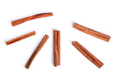 Cinnamon sticks, top view, paths. Cinnamon sticks from above. Clipping paths, shadows separated Stock Image