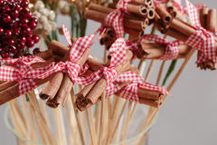 Cinnamon sticks. Traditional Christmas spices isolated on gray in air Royalty Free Stock Photography