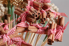 Cinnamon sticks. Traditional Christmas spices isolated on gray in air Stock Photo