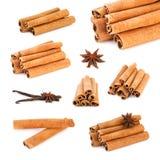 Cinnamon sticks vanilla sticks, anise. Cinnamon sticks, vanilla sticks, anise on white Stock Photos
