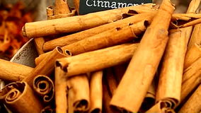 Cinnamon sticks A stock video footage