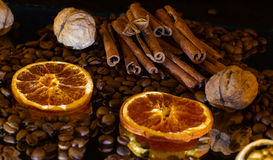 cinnamon sticks,walnuts,candied fruit Stock Image