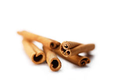 Cinnamon sticks on white Stock Photos