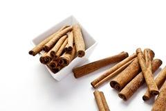 Cinnamon sticks, White Background Stock Photos