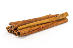 Cinnamon sticks. Cinnamon sticks on white background Royalty Free Stock Photography