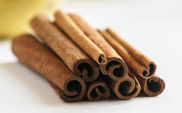 Cinnamon sticks on white background Royalty Free Stock Images