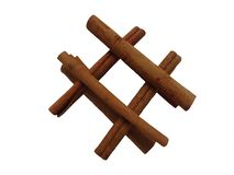 Cinnamon sticks on a white background in the form of a well. royalty free stock photos