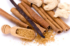 Cinnamon Sticks on white - tight depth of field Stock Images