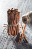 Cinnamon sticks  on white wooden table Royalty Free Stock Photo