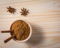Cinnamon sticks in wooden bowl Stock Image
