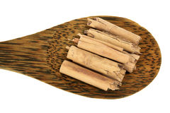 Cinnamon Sticks on Wooden Spoon Royalty Free Stock Images