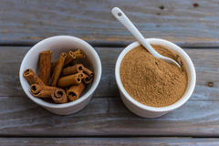 Cinnamon stiks and powder Stock Images