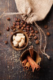 Cinnamon, sugar and coffee beans Stock Photography