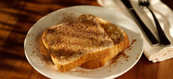 Cinnamon sugar toast shot with selective focus. Royalty Free Stock Photos