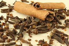 Cinnamon and tack clove. Picture of the spices of clove and cinnamon have two pieces royalty free stock image