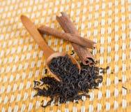 Cinnamon and tea. Two cinnamon sticks and tea spoon Royalty Free Stock Image