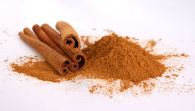 Cinnamon - three sticks and powder Stock Images