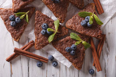 Cinnamon toast with blueberries close-up. horizontal top view Royalty Free Stock Images