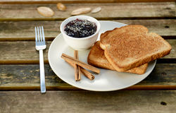 Cinnamon toast with jam Stock Photo