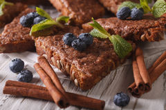 Cinnamon toast with mint and blueberries macro. Horizontal Stock Photography