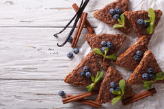 Cinnamon toast with vanilla and blueberries. Horizontal top view Royalty Free Stock Photo