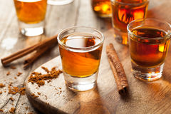 Cinnamon Whiskey Bourbon in a Shot Glass. Ready to Drink Royalty Free Stock Photos