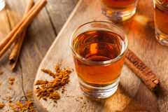 Cinnamon Whiskey Bourbon in a Shot Glass. Ready to Drink Stock Photography