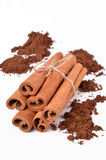 Cinnamon. On white background with heaps of cocoa Stock Image