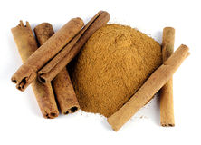 Cinnamon. White background  and spices Stock Photo