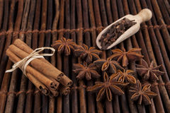 Cinnamon on Wood Royalty Free Stock Photo