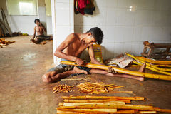Cinnamon workshop. HIKKADUWA, SRI LANKA - July 11, 2014: Man is processing branches of cinnamon in small workshop near Hikkaduwa on July 11, 2014. Sri Lanka is royalty free stock photography