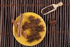 Cinnamon on Yellow Plate Stock Image