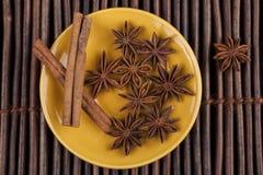 Cinnamon on Yellow Stock Photo
