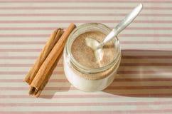 Cinnamon yogurt. My delicious homemade cinnamon yogurt Royalty Free Stock Photos