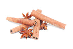 Cinnamone  and  anise-star  spice   on white Royalty Free Stock Photos
