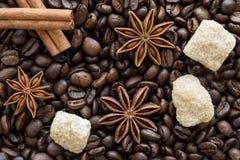Cinnmon kije, brązu cukier i anyżowe gwiazdy na kawowych fasolach, popierają zdjęcie stock