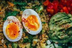 Cinoabowl z miękka część gotującym się przyrodnim jajkiem, guakamole, cucmber, pieprz zdjęcia royalty free