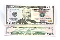 Cinqüênta dólares de nota de banco Fotos de Stock