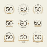 Cinqüênta do aniversário anos de logotype da celebração 50th coleção do logotipo do aniversário Imagem de Stock