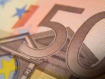 Cinqüênta notas de banco de EUR, detalhe Imagens de Stock Royalty Free
