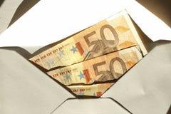 Cinqüênta notas de banco dos euro Imagens de Stock Royalty Free