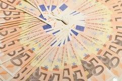 Cinqüênta notas de banco dos euro para o fundo Imagem de Stock Royalty Free